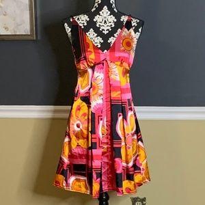 Bebe Colorful Satin Slip Dress Sz M